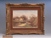 With Name Plate Unknown Overseas Author Old Watercolor Landscape Painting Sign