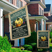 Olde Salem Witches Inn Witch Halloween Decorations House And Garden Flag