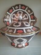 Royal Crown Derby Old Imari 1128 Soup Tureen And Stand , Handpainted And Gilded