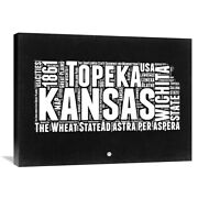 Naxart Studio And039kansas Black And White Mapand039 Stretched Canvas Small