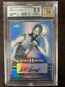 Bill Russell 2018 Leaf Metal Sports Heroes Blue Ssp 2/2 Bgs 8.5 10 Auto 1 Of 1