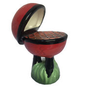 Nora Fleming Retired Mini Nf Debossed Bbq Grill Kettle Red