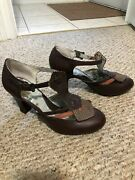 Anthropologie Miss L Fire Brown Leather Heels/shoes Size 40 9.5 Nwob