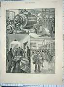 Old Antique Print 1898 Bank France Notes Hall Collecting Clerks Bullion 19th
