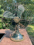 Vintage 1930and039s General Electric 75423 3 Speed Oscillating Desk Fan--works Great