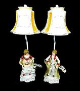 Antique Colonial Seated Boy And Girl 2 Pc Working 20 1/2 Lamps And Porcelain Shades