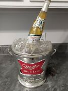 Vintage Miller High Life Silver Ice Bucket With A Beer Bottle Lighted 3-d Sign