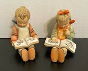 Lot Of 2 Vintage Hummel Bookends Book Worm 14a And 14b Very Good Condition