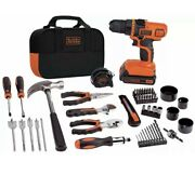 New Black And Decker 20v Max Drill And 68 Piece Home Tool Kit Ldx120pk Free Shipping