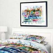 Designart And039houses And Boatsand039 Landscape Framed Canvas Print Small