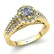 Real 2carat Round Cut Diamond Ladies Solitaire Halo Engagement Ring 18k Gold