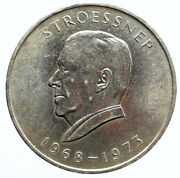 1968 Paraguay President Stroessner Genuine Old Silver 300 Guaranies Coin I95787