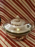 Pilgrim Silver Plate Bowl With Handles And Lid. With 8 Pyrex Bowl