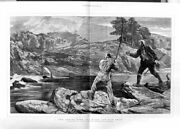 Old Antique Print 1876 Men Fishing Sport Mountains River Trees Fine Art 19th
