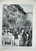 Original Old Antique Print 1904 Lottery Numbers Courtyard Ministry Finance Rome