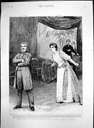 Antique Old Print Fringe Society New Play Criterion Mrs Eve-allen Man 1892 19th