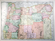1894 Oregon Rand Mcnally Very Large Antique Detailed Map