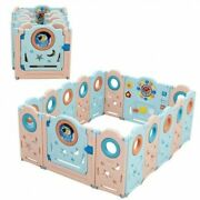 16-panel Foldable Baby Safety Play Yard Playpen With Lockable Gate - Size 16-p