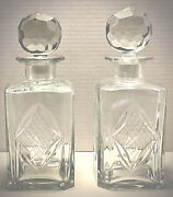 Two Vintage Cut Crystal Whiskey Decanters Includes Round Faceted Stopper