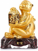 Large Size Chinese Zodiac Monkey Golden Resin Collectible Figurines Table Decor