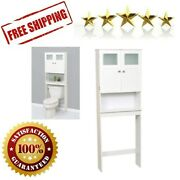 Over The Toilet Bathroom Spacesaver Storage Frosted Glass Windows Wooden White