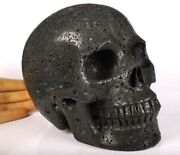 Huge 7.0 Hot Lava Stone Carved Crystal Skull, Realistic, Crystal Healing 027