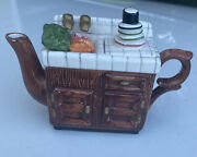 Mini Antique Kitchen Wash Sink With Dishes And Vegetables Collectible Teapot