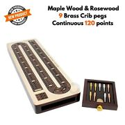 3 Track Continuous Cribbage Board Rosewood Maple Wood Box And Brass Pegs Gift Set