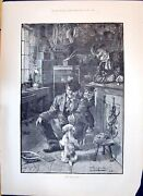 Original Old Antique Print 1893 First Lesson Puppy Dog Bird Cages P Victorian