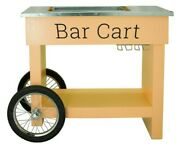 Champagne And Wine Bar Cart With Wheels Galvanized Tub Steel Glass Rack And Handle