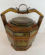 Antique Chinese Signed Bamboo Wedding Basket Box W/ Painted Figural Men Women