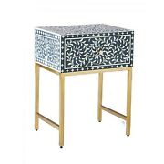 Bone Inlay Square Lamp Table On Metal Stand Made To Order