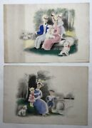 2 Lithographs Antique Signed Madeleine Luka Dated 1938 Autographed Hand