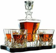 Crystal Wine And Whiskey Iceberg Mountain Glacier Decanter With 4 Glasses And
