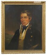 Antique 19th Century Oil Painting On Board Naval Officer Portrait Maritime 34