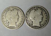 1900 1908-s Barber Silver Half Dollars Lot Of 2 Circulated Coins 41421-5