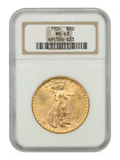1924 20 Ngc Ms63 - Saint Gaudens Double Eagle - Gold Coin