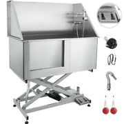 Electric Lifting 50'' Pet Dog Grooming Bath Tub Stainless Steel Shower Station