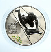 2014 Russia Sochi Olympics Skeleton Sled Color Proof Silver 3 Rouble Coin I95918