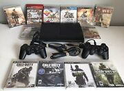 Sony Playstation 3 Super Slim Cech-4001c 500gb Console 2 Controllers/12 Games