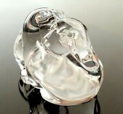 Steuben Glass Puppy Love Hand Cooler   Signed Crystal Dog Paperweight