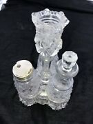 Pressed Glass 5 Piece Cruet And Condiment Set W/ Candle Holder And Oil Vinegar Set