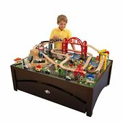 Metropolis Wooden Train Set And Table With 100 Pieces And Storage Drawer Espresso