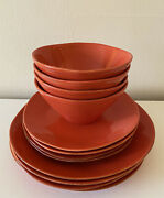 Crate And Barrel Vintage Orange Citron Collection Service For 4 Dinnerware