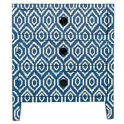 Bone Inlay Geometric 3 Drawer Bedside Lamp Table Blue Made To Order