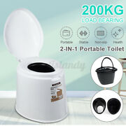2 Barrels Portable Toilet Seat Travel Camping Outdoor Indoor Potty Commode Us