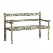 Bone Inlay Garden Bench Seat 3 Seater Black Floral 160x50x85made To Order