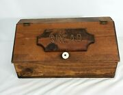 Vintage 70's Wooden Bread Box Rustic Country Lift Top Engraved 16.25 Long