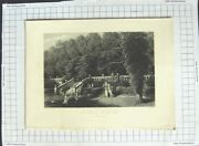 Old Antique Print View Terrace Haddon Hall Trees Engraving Chase Godfrey