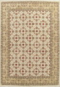 Ivory Geometric Oushak Oriental Area Rug Hand-knotted Classic Large Carpet 10x14
